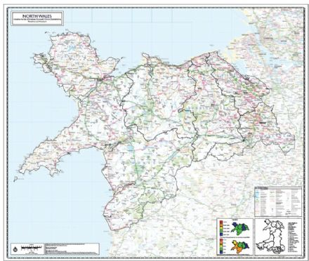 North Wales County Planning Wall Map